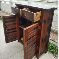 老船木玄关柜简易鞋柜实木阳台防灰尘收纳储藏柜子家具