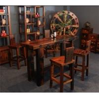 老船木古典家具纯实木吧台酒吧会所客厅吧桌椅子组合
