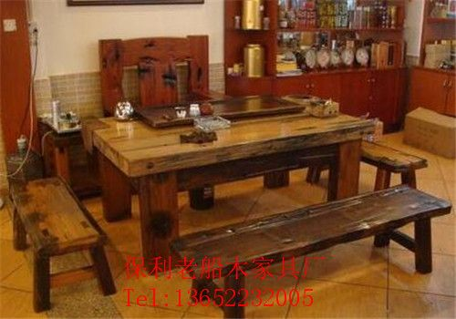 老船木酒店会客茶台中式茶艺桌实木家具茶几接待茶桌椅子