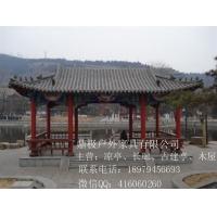 实木古戏台古建廊桥手工彩绘实心柱子
